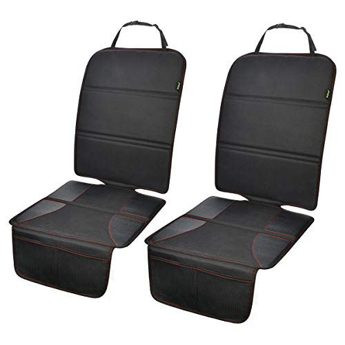 Car Seat Protector 2 Pack for Child Car Seat, Auto Seat Cover Pad Under Baby Carseat, Full Protection for Your Fabric and Leather Seats