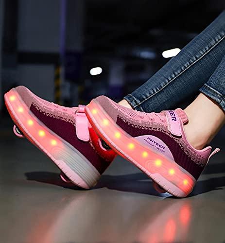XRDSHY Zapatillas De Patinaje Luces LED Luminoso Ruedas Dobles Zapatillas Deportivas De Gimnasia En Línea para Niños,Pink-37