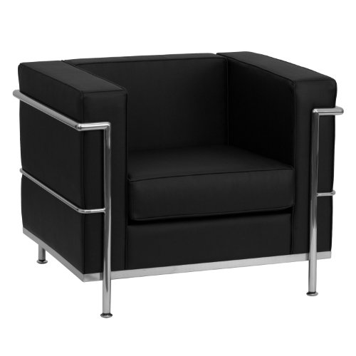 Flash Furniture HERCULES Regal Series Contemporary Black Leather Chair with Encasing Frame