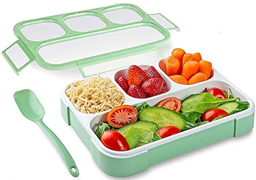 Tedemel Lunch Box Bento Box Leak Proof 4 Compartment Lunch Box Reusable Microwave Freezer Safe Food Containers with Spoon for Adults and Kids