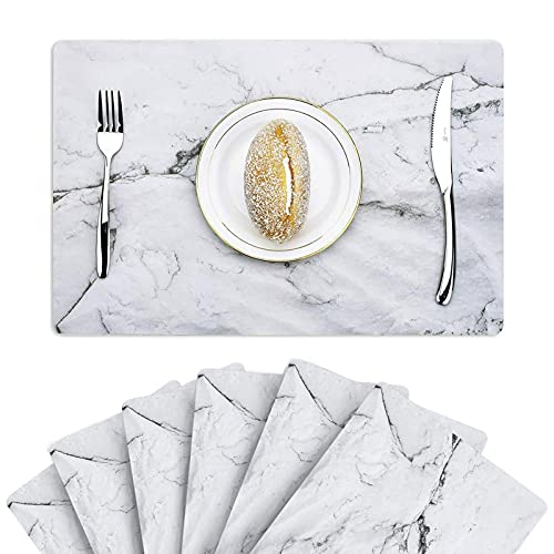 GENNISSY Marble Placemats for Dining Table Set of 6 Thin Environmental Table Mats Easy Clean for Kitchen Dinner Party((Marble)