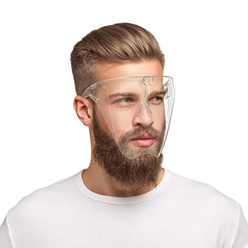 HARD 1x Schutzbrille mit Mund Nasen Schutz aus Polycarbonat in gr. L Schutzschild Maske mit Anti-Beschlag, kratzfestes Face Shield, Brille in Transparent