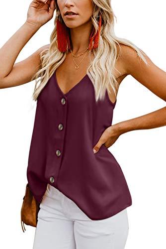 Ancapelion Damen Sommer Bluse Ärmellose Chiffon Top V-Ausschnitt Shirt Elegant Weste Hemdbluse Loose fit T Shirt mit Trägern, Einfarbig-3 (weinrot), Gr. M