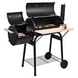 WEI WEI GLOBAL 44 Inch Charcoal Grill and Offset Smoker, Portable Backyard Steel BBQ Oven with Wheels, Outdoor Patio Barbecue Cooker with Side Fire Box for Camping, Picnic, Party