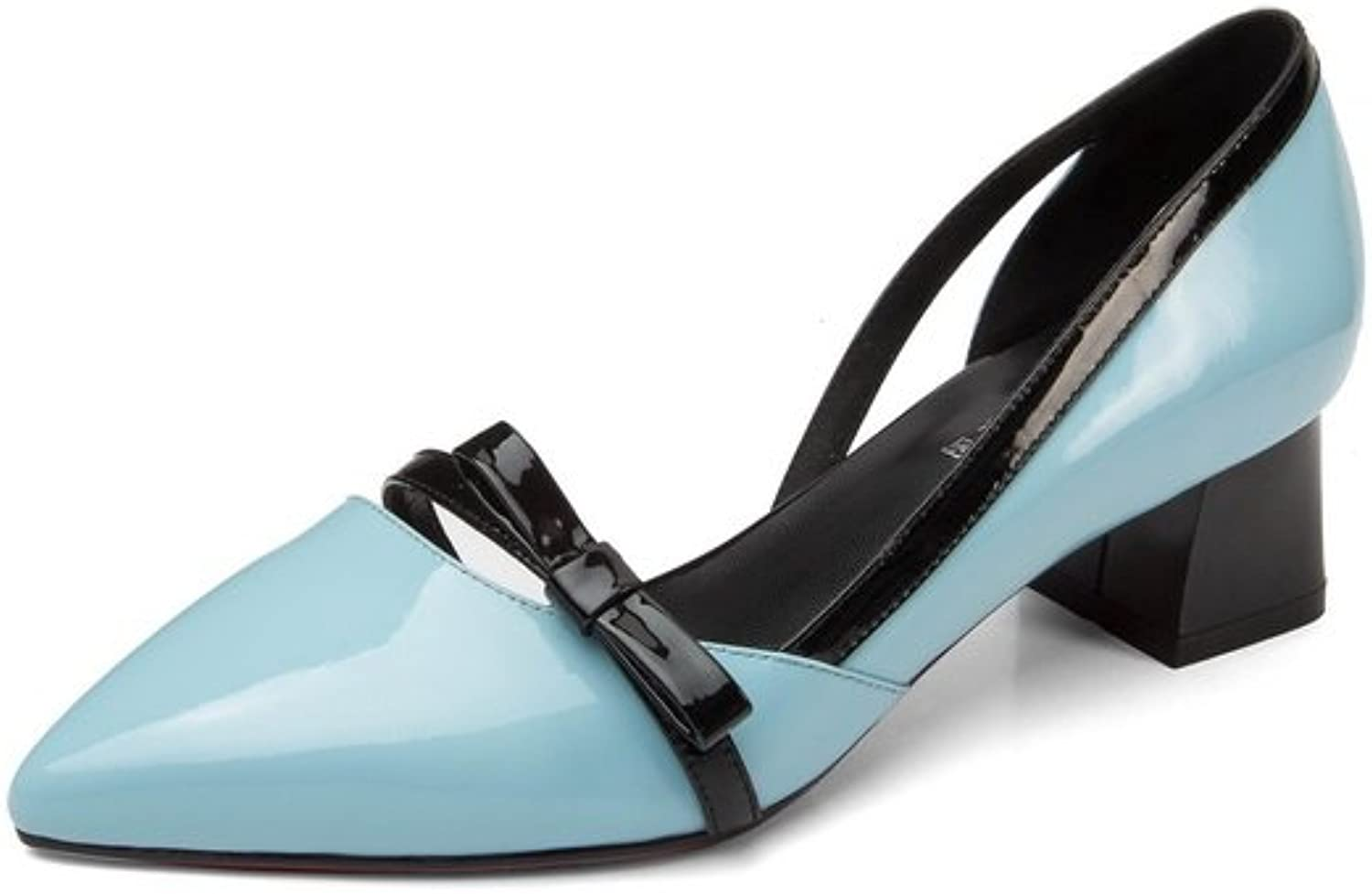 1TO9 Womens Chunky Heels Low-Cut Uppers Pointed-Toe Pleather Pumps shoes MJS02931