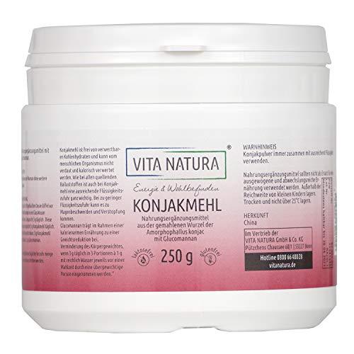 Vita Natura Konjakmehl zur Gewichtsreduktion, Glucomannan, 1er Pack (1 x 250 g)
