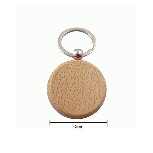 Lumanubia 1 portachiavi in legno di faggio, semplice, ovale, decorazione per auto, porta, telefono, borsa, regalo di compleanno per amici, Lega, Round, 4*4cm