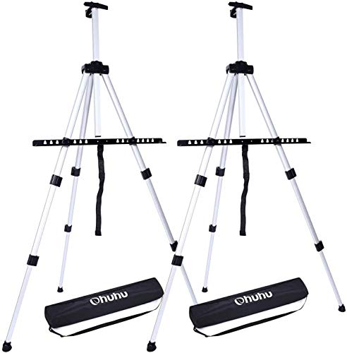 """Artist Easel, Ohuhu 2-Pack 66"""" Aluminum Field Easel Stand with Carrying Bag for Table-top/Floor, Art Easels with Adjustable Height from 21-Inch to 66-Inch, Back to School Art Supplies"""