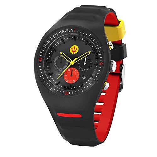 Ice-Watch - RED DEVILS P. Leclercq - Black - Schwarze Herrenuhr mit Silikonarmband - Chrono - 016101 (Large)