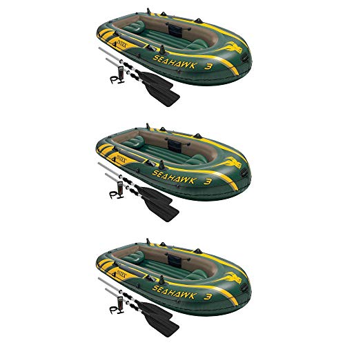 Intex Seahawk 3 Person Inflatable Boat Set with Aluminum Oars & Pump (3 Pack)