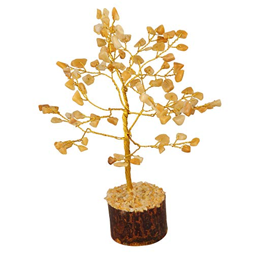 ZAICUS Yellow Aventurine Money Tree Feng Shui Bonsai Reiki Healing Stone Chakra Balancing Aura Cleansing Good Luck Energy Generator Gemstone Spiritual Gift Home Decor Golden Wire Size 7-8 Inch Approx