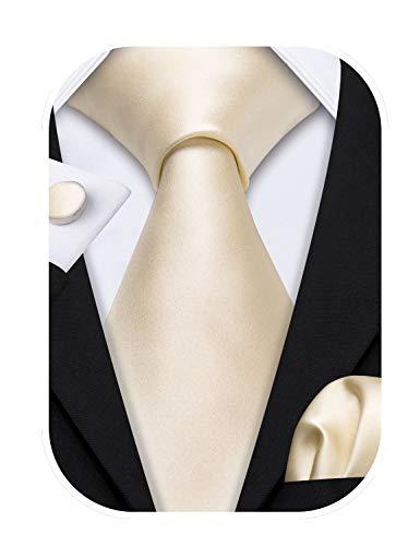 Barry.Wang Herren Seide Pure White Tie Manschettenknöpfe und Pocket Square Krawatte Set für die Hochzeit
