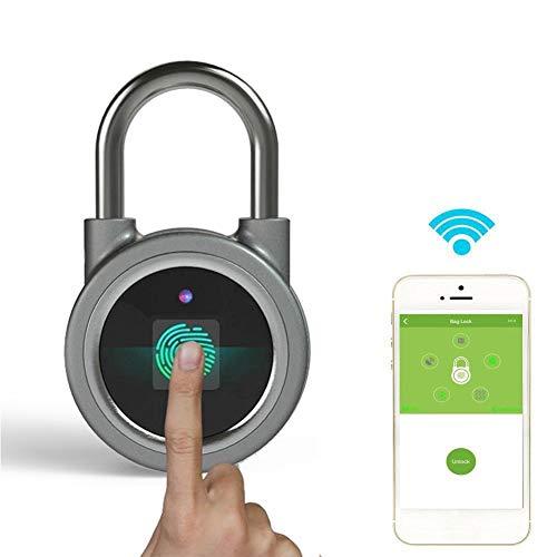 Vingerafdruk hangslot, Bluetooth Connection Waterdichte Smart Security hangslot voor deur, rugzak, koffer, fiets, sportschool, kantoor, oplaadbare vinger Touch hangslot App is geschikt voor Android/IOS (zilver)