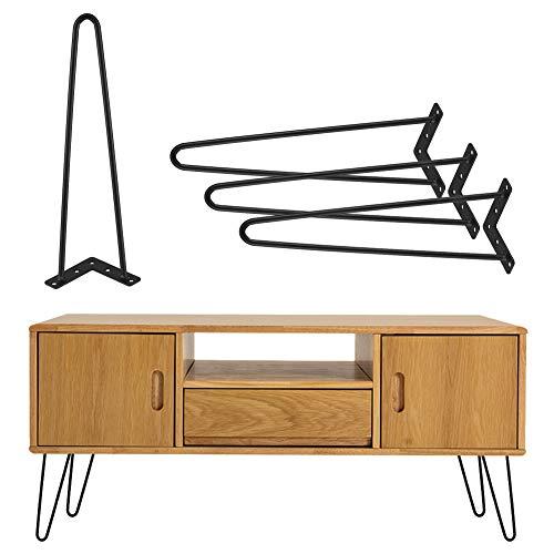 4 Stück Hairpins Legs Haarnadelbeine Tischbeine Möbelfüße Metall Tischgestell Möbelbein Austauschbare Hairpin Leg für Esstisch Couchtisch Schreibtisch Arbeitstisch Durchmesser 40cm Schwarz