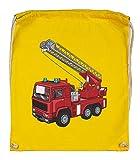 Druckerlebnis24 - Bolsa de deporte de algodón orgánico, diseño de camión de bomberos, color amarillo, tamaño talla única