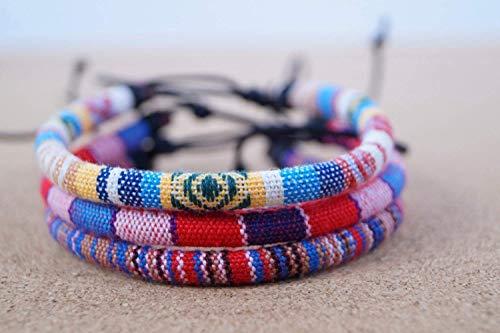 3x Surfer Fußband Boho Ethno Look Made by Nami - Fußbändchen Fußkettchen Festival Hippie Look - Set Gelb, Multi, Rot/Blau