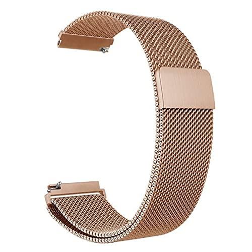 Correa magnética de metal para reloj de malla milanesa con cierre rápido para mujeres y hombres, 16 mm, 18 mm, 20 mm, 22 mm, 24 mm (oro rosa, 18 mm)