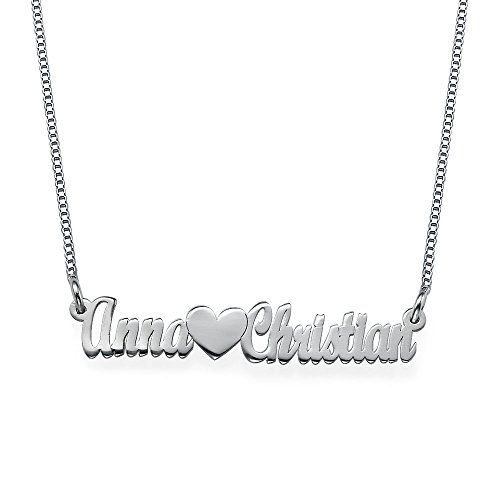 Double Strength Couples Name Necklace in Sterling Silver - Custom Made...