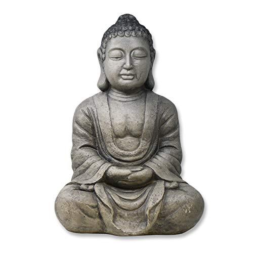 DRULINE XXL Großer Buddha sitzend steingrau Figur Feng Shui Skulptur Lotus Asia 59 cm Grau