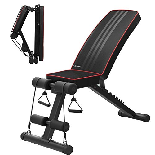 Foldable Weight Bench Sit up Bench Adjustable Fitness Bench with Exercise Rope Home Gym Workout Bench Incline Abs Benchs Flat Fly Weight Press Fitness Exercise Strength Training Muscle Gains【US Stock】