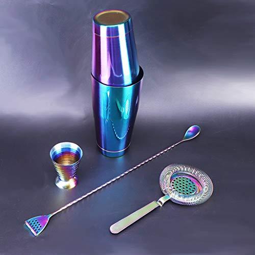 ZLDGYG Colorido Cocktail Shaker Bar Set: Shakers ponderados, colador de cócteles, Jigger mágico, Cuchara de Mezcla