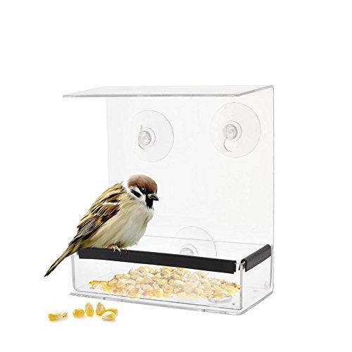 SinceY Vogeltoevoer, vierkante deken, venstervogeltoevoer adsorptietype huisvorm-toevoer transparant weerbestendig acryl ontwerp voor observatie vogels toevoerstations