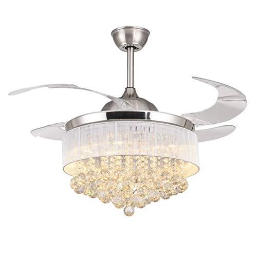 Luz de ventilador de techo retro Ventilador de techo Ventilador de plata decorativo Cuerpo Cuchillas retráctiles Ventilador Luz Sala de estar Ventilador LED Cristal Comedor Luz del ventilador de techo