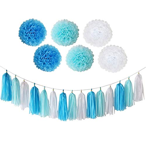 Trimming Shop Blue Happy Birthday Banner Tassel Paper Pom Poms with Multi Themed Buntings for Birthday Party Decoration, Ceremonies, Kids Party Favors