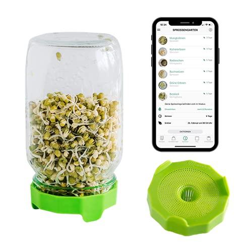 Cell Garden® Sprossenglas – Keimdeckel Grün Spülmaschinenfest und Rostfrei | 1000 ml Keimglas für Sprossen + gratis App mit Keimanleitung und Rezepten | Sprossen Keimgerät…