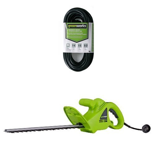 Greenworks 22102 2.7 Amp 18-Inch Corded Hedge Trimmer and 50′ Indoor/Outdoor Extension Cord