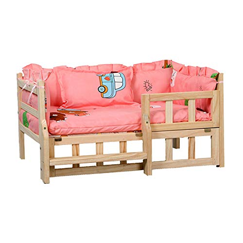 JLXJ Wooden Dogs Beds with Soft Mat/fence/stairs Step, Large Medium Small Pet Elevated Orthopedic Kennel Sofa, Winter Summer Use (Color : Pink-1, Size : Small)