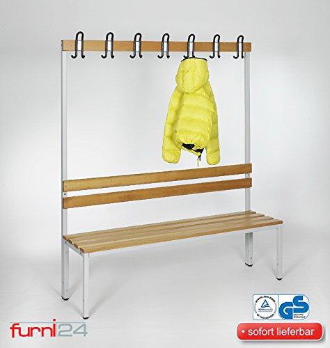 furni24 Umkleidebank Sitzbank Sportraumbank Garderobenbank Bank Buche Holz (1-seitig) einseitig mit Garderobenhaken 150 cm x 170 cm x 43 cm