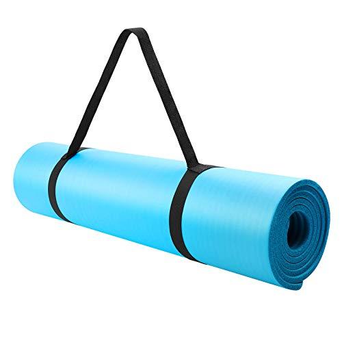 WERPOWER Tappetino Yoga, Tappetino Palestra Fitness con Tracolla, Antiscivolo Yoga Mat in NBR Materiale, Tappetini Imbottiti per Yoga Aerobica Fitness Pilates e Ginnastica, 183cm x 63 cm x 1cm-Blu