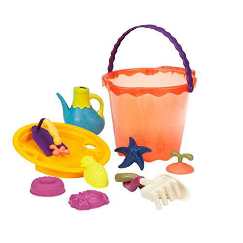 B toys – Shore Thing – Large Beach Playset – Large Bucket Set Papaya with 11 Funky Sand Toys for Kids – Phthalates and BPA Free – 18 m