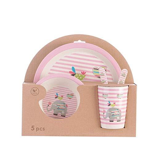 Plato de Dibujos Animados para el Compartimento del bebé, Juego de Tenedor de Cuchara para tazón de Comida para el hogar en el hogar de Cinco, Elefante en Polvo