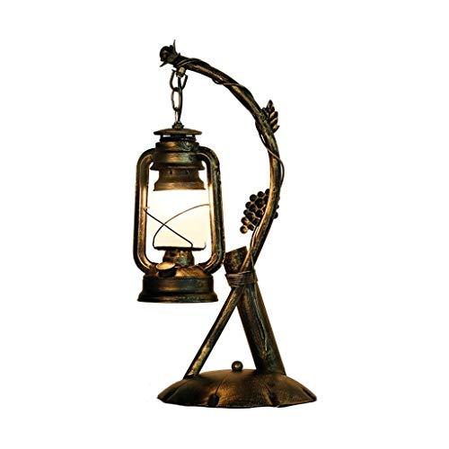 NXYJD Estilo Creativo Retro Industrial lámpara de Mesa, café de la Barra del Restaurante lámpara de Escritorio de Estudio de la Oficina de la lámpara, Pantalla de Cristal