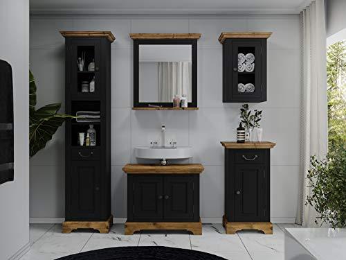 Woodkings® Badmöbel Set Kenia Holz Badset mit Hochschrank Badspiegel Waschbeckenunterschrank Hängeschrank Unterschrank 5teilig komplett Pinie Rustikal Landhaus (Schwarz)