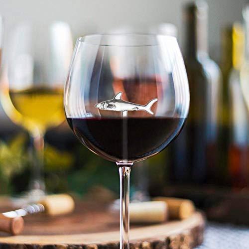 jaspenybow Bicchiere da Vino Rosso di Cristallo di squalo Innovativo, Calice Bicchiere da Cocktail Bicchiere da Vino - Halloween/Bar/Natale/Famiglia/Festa 300ml