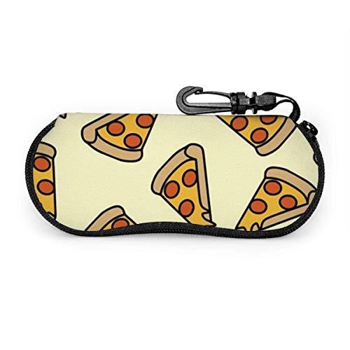 sherry-shop Étui à lunettes de soleil Pizza Slice Cute Hand Drawn Travel Soft Neoprene Zipper Eyeglass Bag