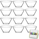 12 Stück Glasschalen im Set, Design Snack Schalen Frühstück oder Party, Vorspeise Glasschale, Dessertschale, Knabberschale aus Glas, 300ml Gläser, lebensmittelechte Müsli Glasschüsseln (Vega)