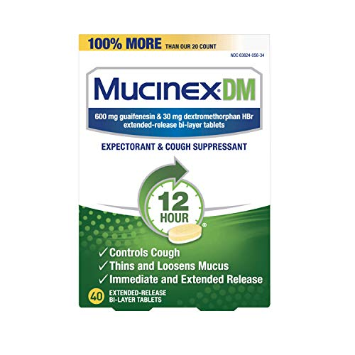 Mucinex Cough Suppressant and Expectorant, DM 12 Hr Relief Tablets, 600 mg, Multicolor, 40 Count