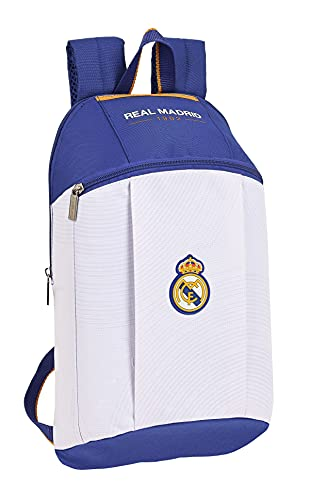 SAFTA Real Madrid, mini zaino per bambini, blu e bianco, medio
