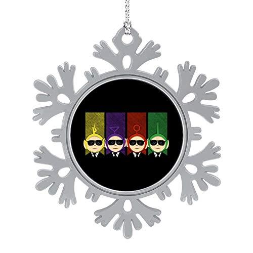 BEDKAGD Depósito Perros Teletubbies Navidad Colgantes Decoración de aleación de copo de nieve, recuerdos de Navidad, decoraciones navideñas personalizadas.