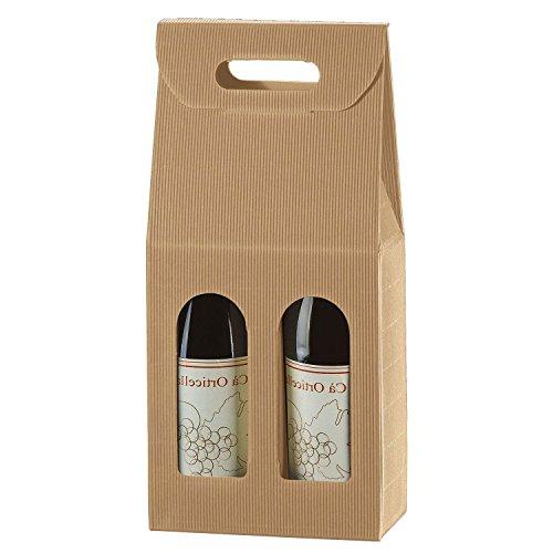 IMBALLAGGI ALIMENTARI PZ 20 Scatola Porta Bottiglia (2 Bottiglie) Busta in Cartone Ondulato Box for Bottles in Carta