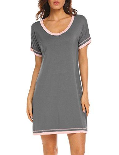 Ekouaer Damen Nachtwäsche mit V-Ausschnitt Nacht Baumwollbeiläufiges Nachtwäsche Kurzarm Nachthemd groß Kohlengrau