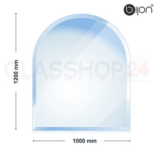 bijon® Funkenschutz-Platte mit Facettenschliff | Glasplatte Kaminofen | Kaminschutz mit ESG Sicherheitsglas | Kamin Glasplatte | Rundbogen 1200x1000x8mm
