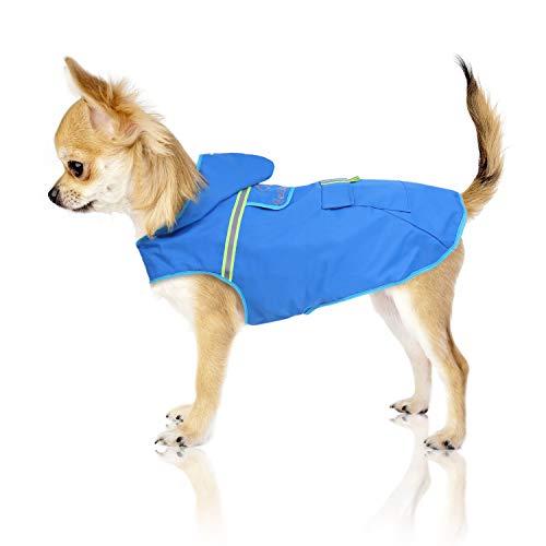 Bella & Balu Manteau de pluie pour chien – Manteau imperméable à capuche avec réflecteurs pour promener votre chien au sec et en toute sécurité avec le chien (XS | bleu)