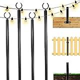 TPSHKE 4 Pack String Light Poles for Outside (4×10 Feet), Heavy-Duty Design, Universal Scene Installation Settings, Suitable for Your Garden, Terrace, Wedding, Party, Birthday Decoration