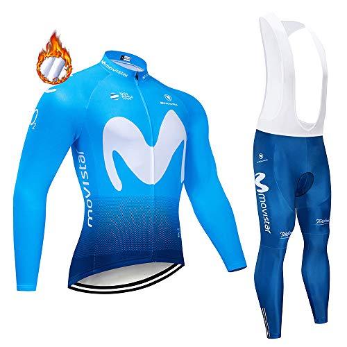 CHHBS Pro Team Maillot Ciclismo Hombre Polar Polar Invierno,Ropa Ciclismo de Manga Larga para Hombre MTB