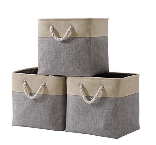 DECOMOMO Foldable Storage Bin | Collapsible Sturdy Cationic Fabric Storage Basket Cube W/Handles for Organizing Shelf Nursery Home Closet (Grey & Beige, Cube - 13 x 13 x 13- 3 Pack)